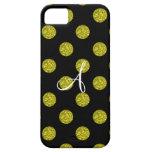 Lunares del brillo del amarillo del monograma iPhone 5 carcasas