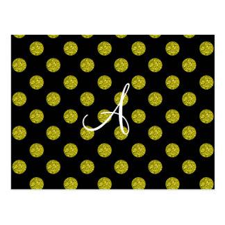 Lunares del brillo del amarillo del monograma tarjeta postal