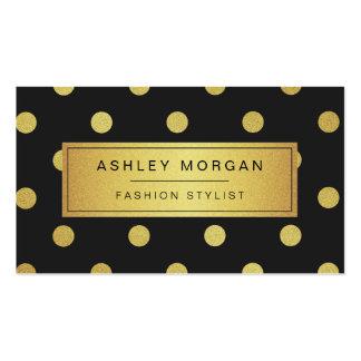 Lunares del brillo del oro - blanco negro de moda tarjetas de visita