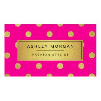Lunares del brillo del oro - rosa elegante de la tarjetas de visita