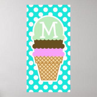 Lunares del color de la aguamarina; Cono de helado Poster