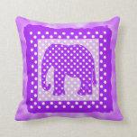 Lunares del elefante púrpura y blanco almohadas