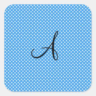 Lunares del monograma azules y blancos pegatina cuadrada