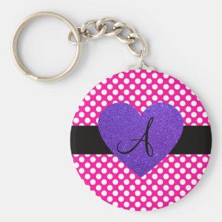 Lunares del monograma de Purple Heart Llaveros Personalizados