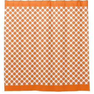 Lunares del naranja de la calabaza cortina de baño