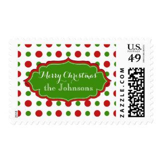 Lunares del navidad de la diversión rojos y modelo sello postal