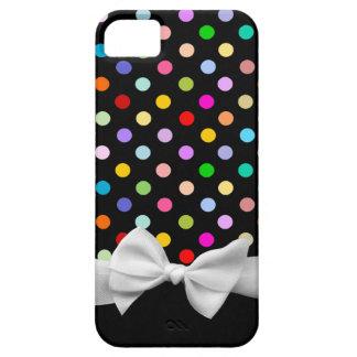 Lunares del negro, del arco iris y cinta blanca funda para iPhone SE/5/5s