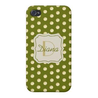 Lunares del oro en verde verde oliva iPhone 4 cobertura