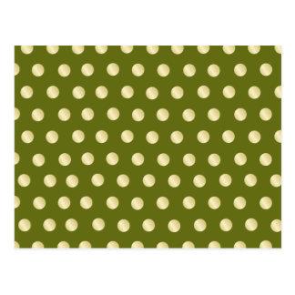 Lunares del oro en verde verde oliva tarjetas postales