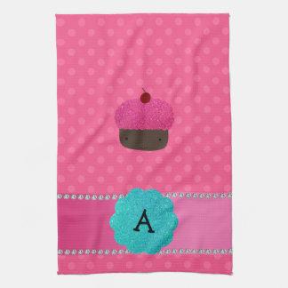 Lunares del rosa de la magdalena del monograma toalla de mano