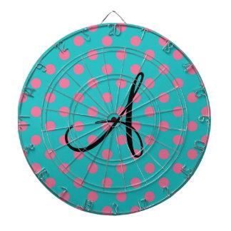 Lunares del rosa de la turquesa del monograma tabla dardos
