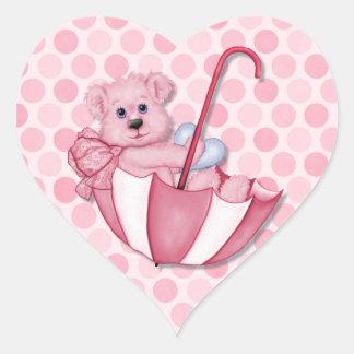 Lunares del rosa del oso del paraguas del tema del colcomanias de corazon