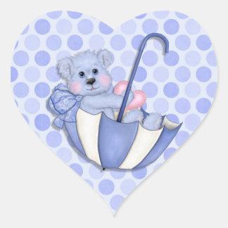 Lunares del rosa del oso del paraguas del tema del calcomanía de corazón personalizadas