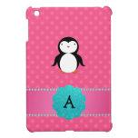 Lunares del rosa del pingüino del monograma iPad mini protectores