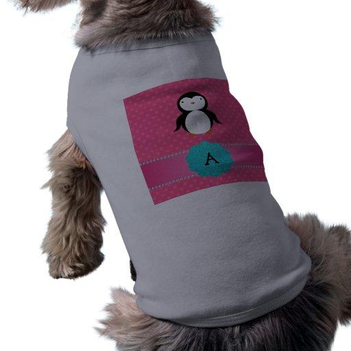 Lunares del rosa del pingüino del monograma camisetas de perrito