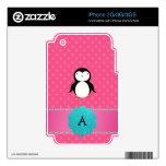 Lunares del rosa del pingüino del monograma calcomanía para iPhone 3