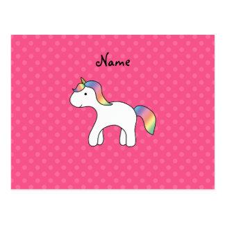 Lunares del rosa del unicornio del bebé del arco i postal