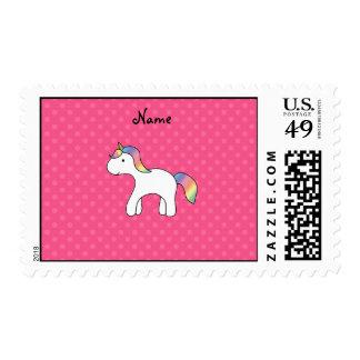 Lunares del rosa del unicornio del bebé del arco timbres postales