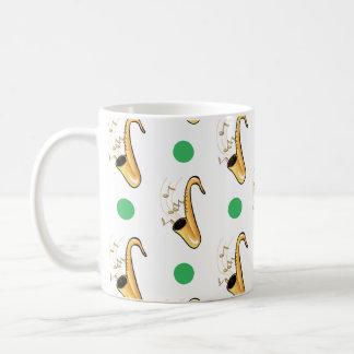 Lunares del saxofón, verdes y blancos tazas de café