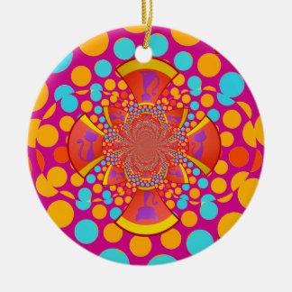 Lunares del trullo del rosa del caleidoscopio del adorno redondo de cerámica