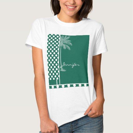 Lunares del verde de botella de la palma del playeras