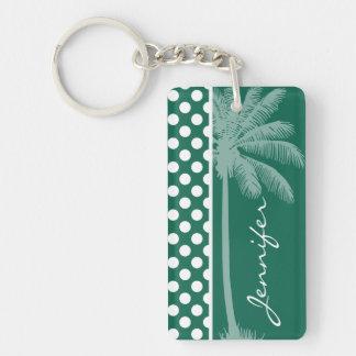 Lunares del verde de botella de la palma del veran llavero
