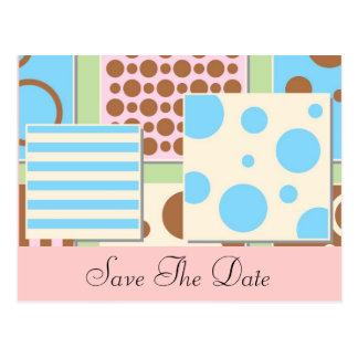 Lunares e invitación de la fiesta de bienvenida al postal