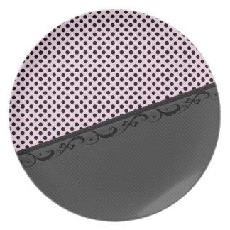 Lunares elegantes del cordón de las rayas discreta plato para fiesta