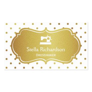 Lunares elegantes del oro blanco de la costurera tarjetas de visita