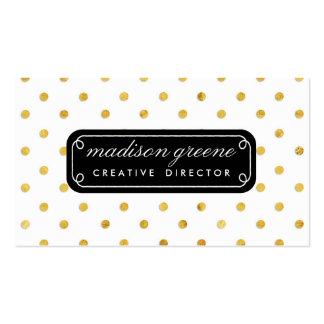 Lunares elegantes elegantes del negro y del oro de tarjetas de visita