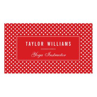 Lunares elegantes, rojos y blancos tarjetas de visita
