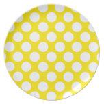Lunares en amarillo platos para fiestas