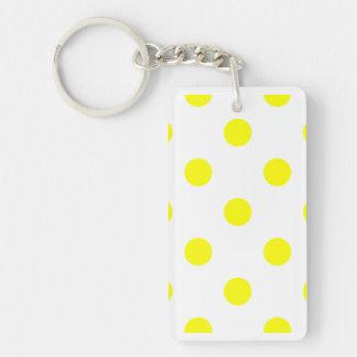 Lunares enormes - amarillo en blanco llavero rectangular acrílico a doble cara