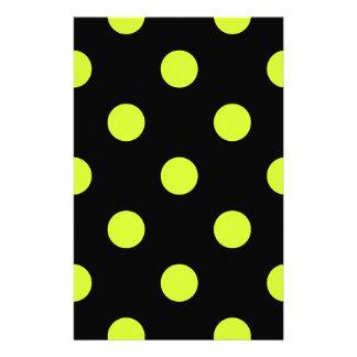 Lunares enormes - amarillo fluorescente en negro papelería personalizada
