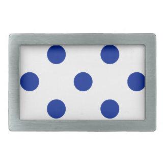 Lunares enormes - azul imperial en blanco hebilla cinturón rectangular