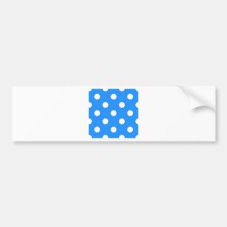 Lunares enormes - blanco en el azul de Dodger Etiqueta De Parachoque