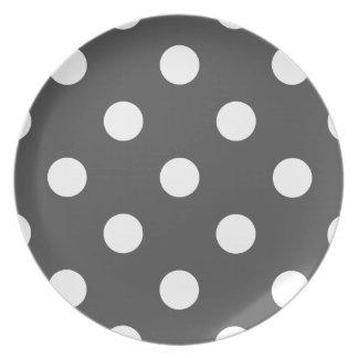 Lunares enormes - blanco en gris oscuro plato