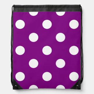 Lunares enormes - blanco en púrpura mochilas