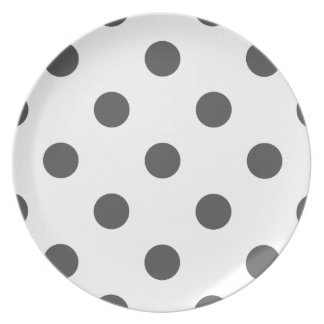 Lunares enormes - gris oscuro en blanco