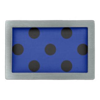 Lunares enormes - negro en azul imperial hebillas de cinturon rectangulares