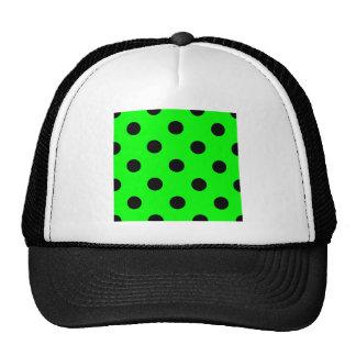 Lunares enormes - negro en verde eléctrico gorra