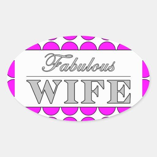 Lunares fabulosos del rosa de la esposa en blanco pegatina ovalada