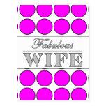 Lunares fabulosos del rosa de la esposa en blanco postal