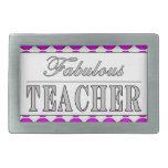 Lunares fabulosos del rosa del profesor en blanco hebilla de cinturón rectangular