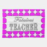 Lunares fabulosos del rosa del profesor en blanco toalla de cocina