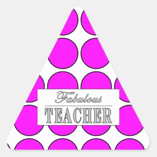 Lunares fabulosos del rosa del profesor en blanco pegatina trianguladas personalizadas