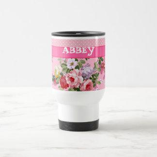 Lunares florales del vintage rosado de moda del mo tazas