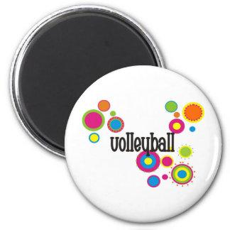 Lunares frescos del voleibol imán redondo 5 cm