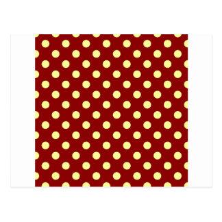Lunares grandes - amarillo en rojo oscuro tarjetas postales