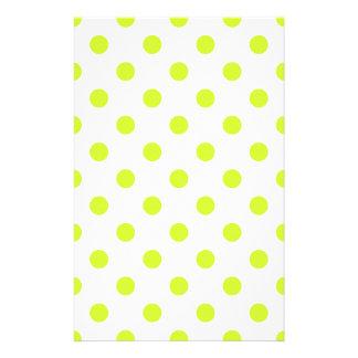 Lunares grandes - amarillo fluorescente en blanco  papeleria de diseño
